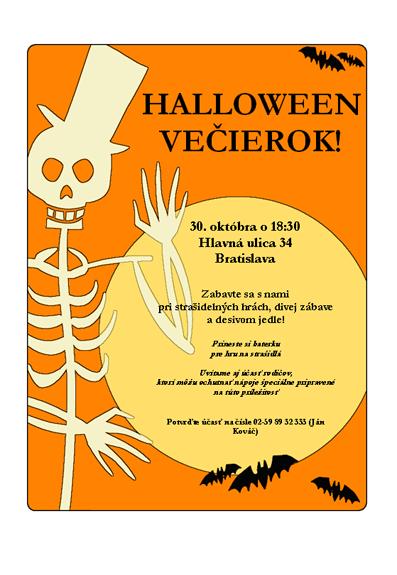Leták pre večierok Halloween