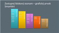 Snímka s grafickým prvkom SmartArt – zostupný blokový zoznam (viacfarebný na sivom podklade), širokouhlý formát