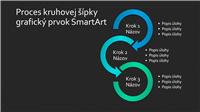 Snímka s grafickým prvkom SmartArt – proces kruhovej šípky (modro-zelený na čiernom podklade), širokouhlý formát