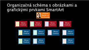 Organizačná schéma s obrázkami (farebná na čiernom pozadí), širokouhlá šablóna