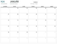 Jednomesačný kalendár na ľubovoľný rok