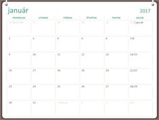 Kalendár na rok 2017 (pondelok až nedeľa, návrh sdvoma krúžkami)