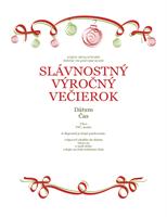 Pozvánka na sviatočný večierok s červenými a zelenými ornamentmi (formálny dizajn)