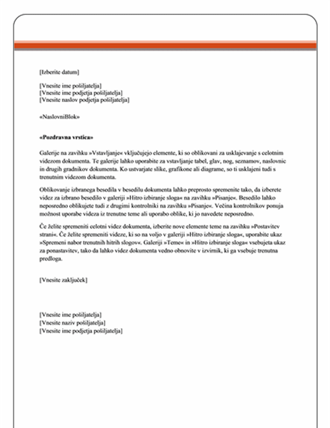 Pismo za spajanje (tema »Poslovni izid«)