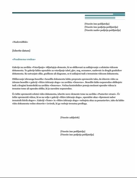 Pismo za spajanje (tema »Urbano«)