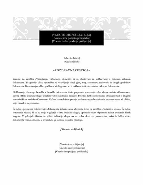 Pismo za spajanje dokumentov (oblika »Svečano«)