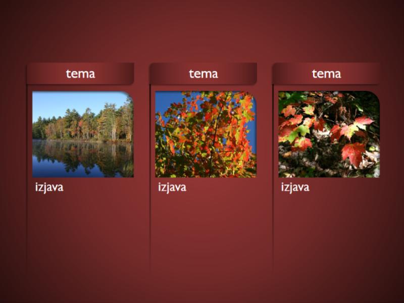 Grafika SmartArt s slikami na rdečem ozadju