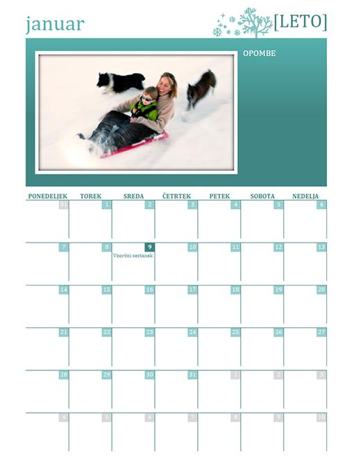 Sezonski družinski koledar (poljubno leto, pon–ned)