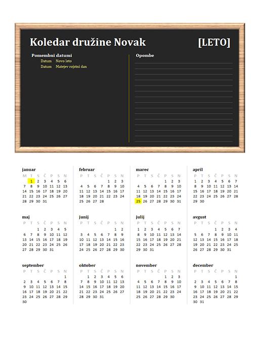 Družinski koledar (poljubno leto, pon.–ned.)
