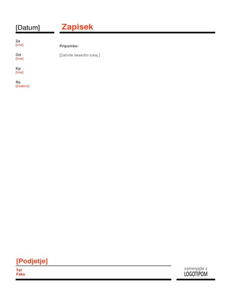 Poslovni zapisek (rdeče)