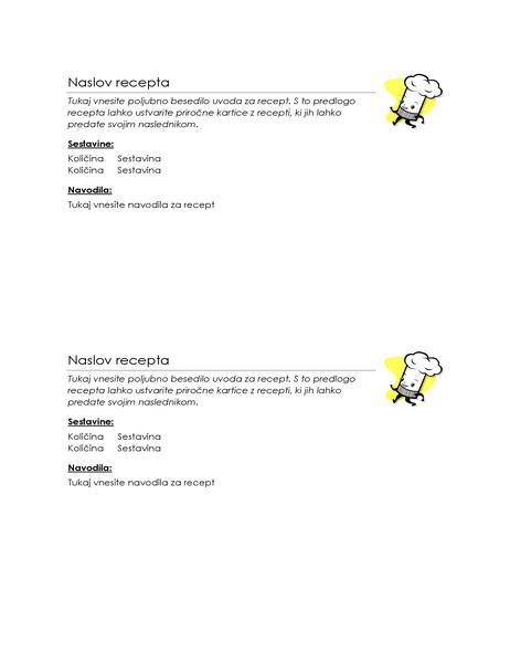 Kartice za recept (2 na stran)