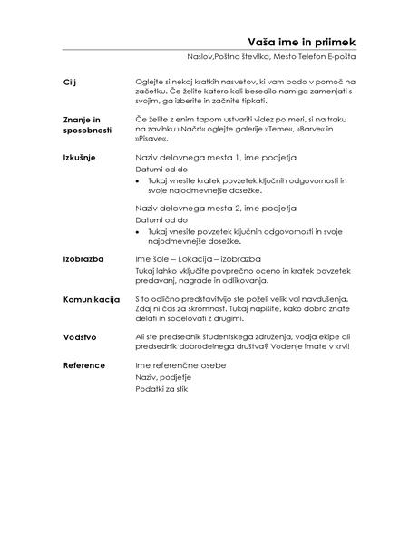 Formalni življenjepis (minimalistični dizajn)
