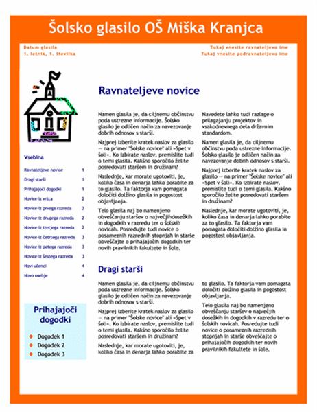 Šolsko glasilo (3 stolpci, 4 strani)