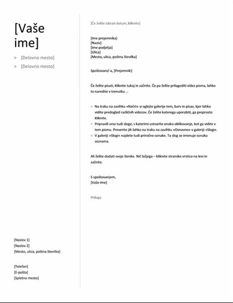 Spremno pismo za kronološki življenjepis (preprost načrt)