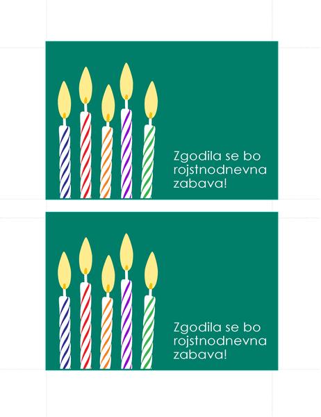 Dopisnice z vabilom na rojstnodnevno zabavo (2 na stran)