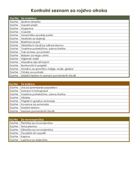 Bolnišnični kontrolni seznam za rojstvo otroka