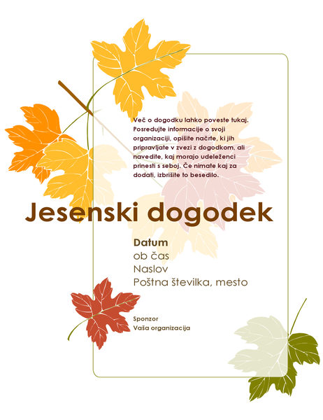 Letak za jesenski dogodek (z listjem)