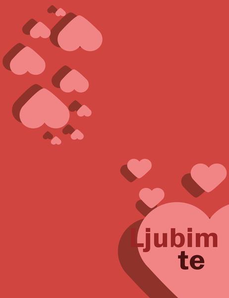 Kartica »Ljubim te« (četrtinski pregib)