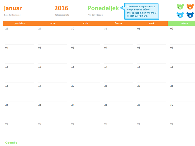 Mesečni koledar za katero koli leto (12 strani , dizajn mavričnih medvedkov)