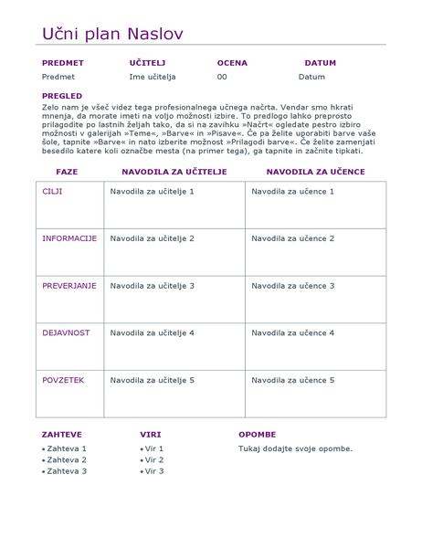 Načrtovalnik dnevnega učnega načrta (barvno)