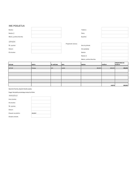 Obračunski izpisek