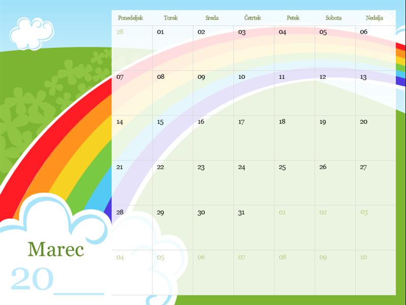 Ilustriran koledar za leto 2018 z letnimi časi (pon–ned)