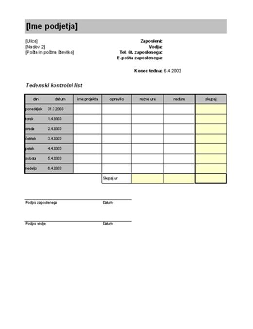 Tedenski kontrolni list z obračunskimi urami