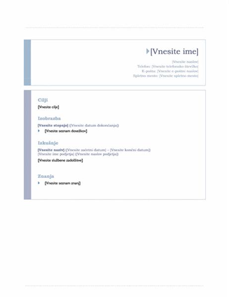 Življenjepis (načrt Izvor)