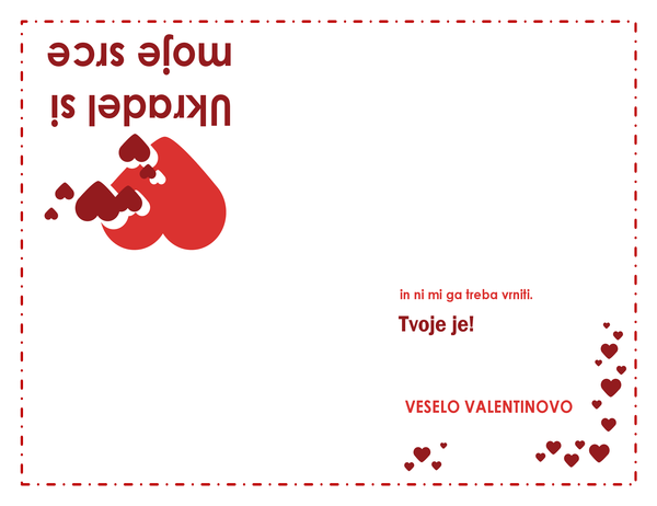 Voščilnica za valentinovo (srca, četrtinski pregib)