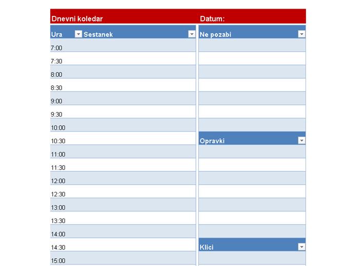 Prazen dnevni koledar