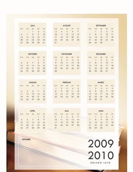 Koledar za šolsko leto 2009/2010 (1 stran, ponedeljek–petek)