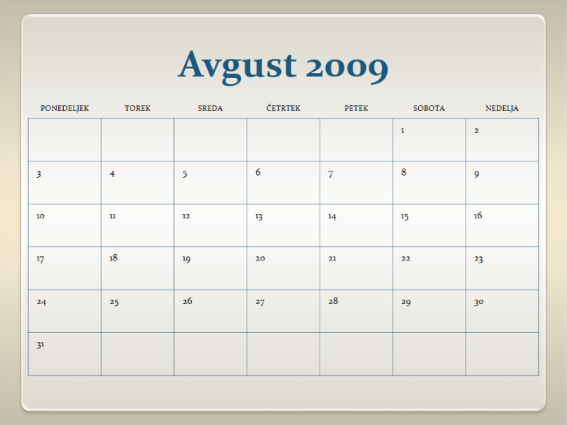Koledar za šolsko leto 2009/2010 (13 strani, ponedeljek–nedelja)