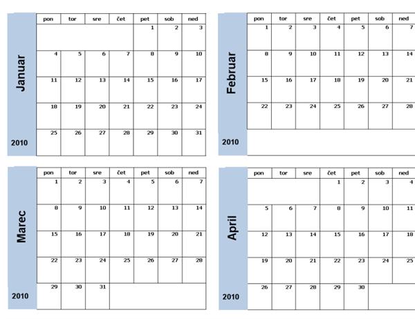 Koledar za leto 2010 z modro obrobo (3 strani, ponedeljek-nedelja)