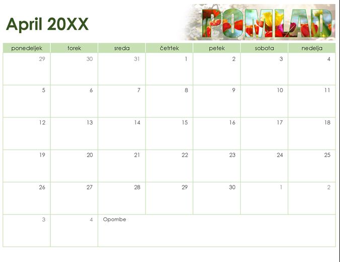Sezonski koledar s fotografijami