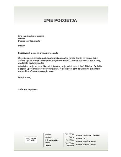Glava poslovnega pisma za tiskovine (načrt Preprosto)