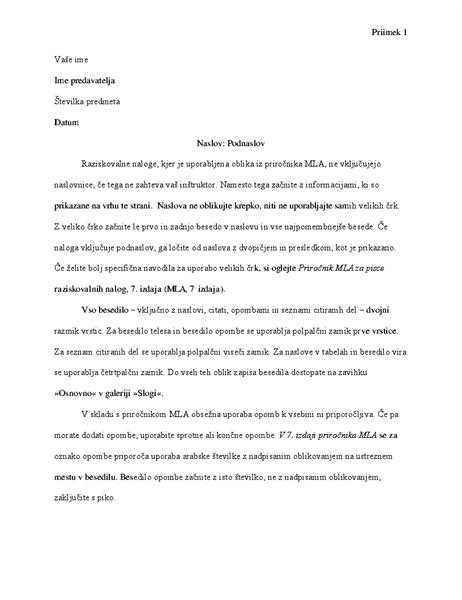Seminarska naloga s slogom citiranja MLA