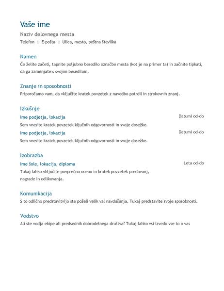 Življenjepis (kronološko)