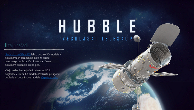 PowerPointova 3D-predstavitev (model teleskopa Hubble)