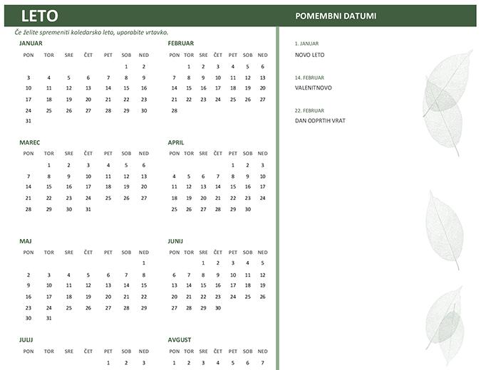 Poslovni koledar (katerokoli leto, Ned-Sob)