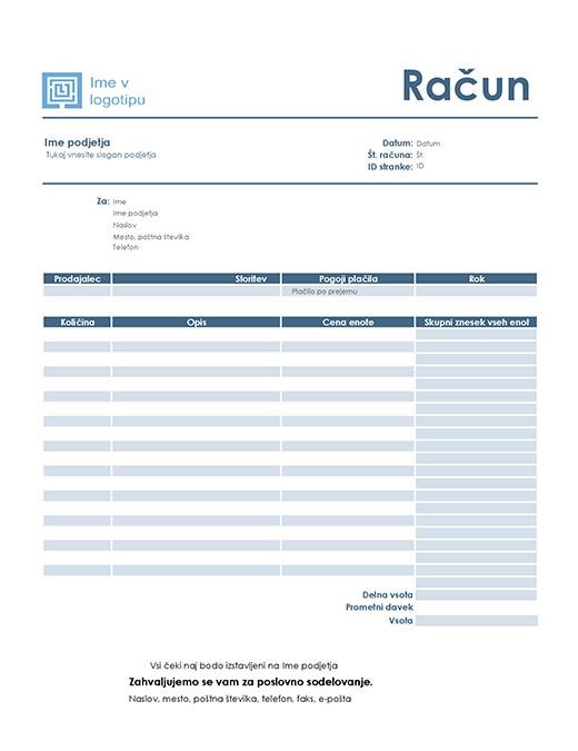 Faktura za storitev (preprost moder načrt)