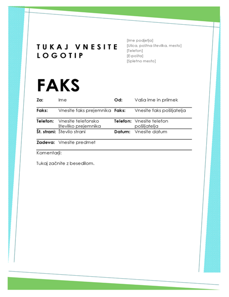Naslovnica faksa z geometrično obliko