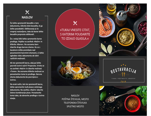Brošura restavracije