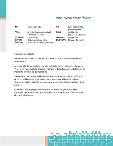 Minimalistična naslovnica faksa tehnološkega videza