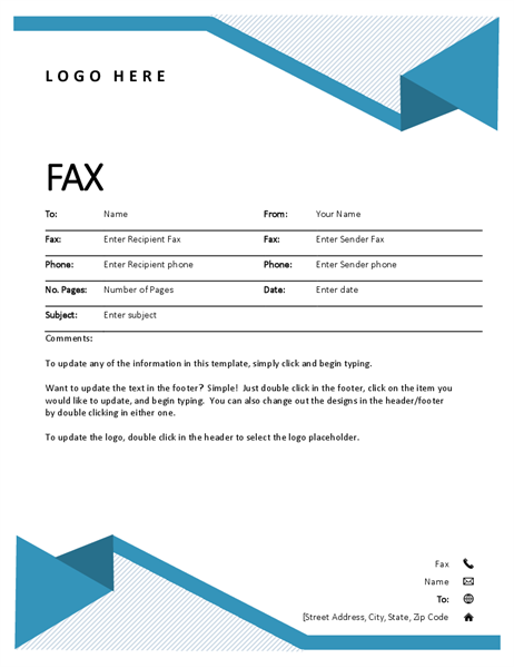Naslovna stran faksa s tankimi črtami