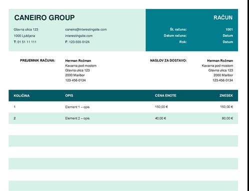 Osnovni račun s ceno enote