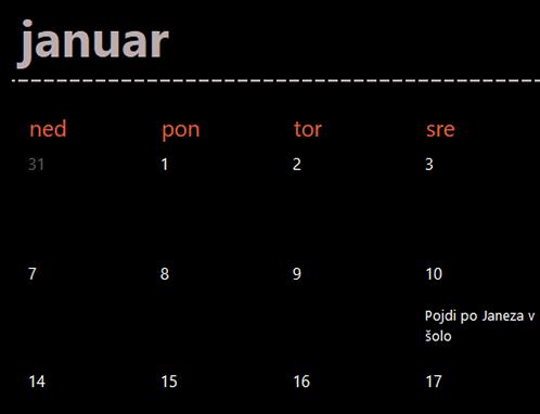 Zavihki zimzelenega koledarja (črna)