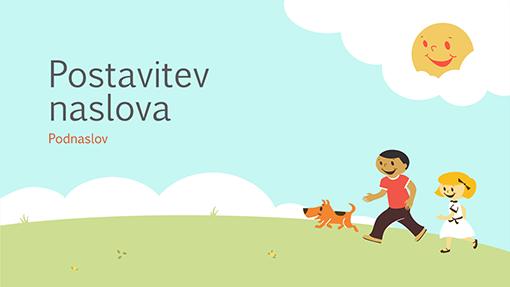 Predstavitev za izobraževanje z motivom otrok med igro (risba, širokozaslonsko)