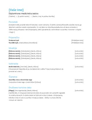 Življenjepis diplomirane medicinske sestre
