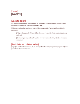 Oris načrta projekta (krepko)