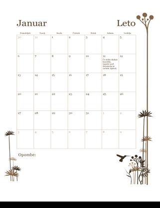12-mesečni koledar (pon–ned)